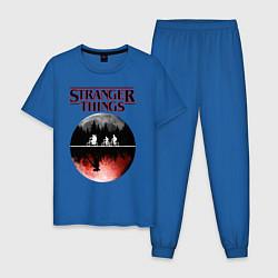 Пижама хлопковая мужская Очень странные дела цвета синий — фото 1
