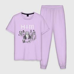 Пижама хлопковая мужская HIM цвета лаванда — фото 1