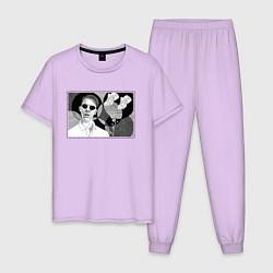 Пижама хлопковая мужская Тима Белорусских: Мокрые кроссы цвета лаванда — фото 1
