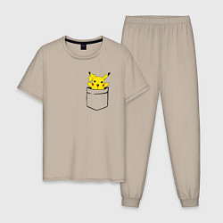 Пижама хлопковая мужская Пикачу в кармане цвета миндальный — фото 1