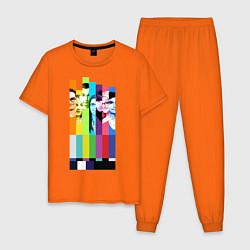 Пижама хлопковая мужская Big Bang Theory collage цвета оранжевый — фото 1