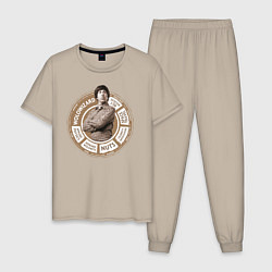 Пижама хлопковая мужская Howard Wolowitz цвета миндальный — фото 1