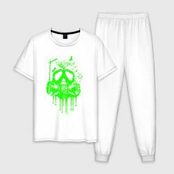 Пижама хлопковая мужская ATOMIC DREAM цвета белый — фото 1