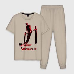 Пижама хлопковая мужская Street Workout Выход Силой цвета миндальный — фото 1