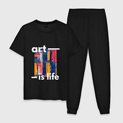 Пижама хлопковая мужская Art is life цвета черный — фото 1