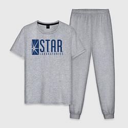 Пижама хлопковая мужская S T A R Labs цвета меланж — фото 1