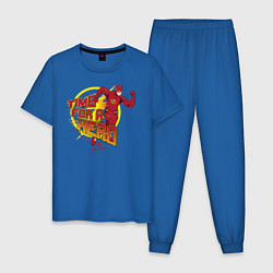 Пижама хлопковая мужская Time For A Hero цвета синий — фото 1