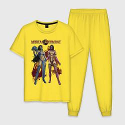 Пижама хлопковая мужская Mileena Kitana цвета желтый — фото 1