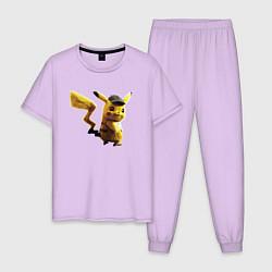 Пижама хлопковая мужская Пушистик Пикачу цвета лаванда — фото 1