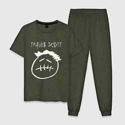 Пижама хлопковая мужская TRAVIS SCOTT цвета меланж-хаки — фото 1