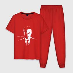Пижама хлопковая мужская Moriarty: Miss me? цвета красный — фото 1