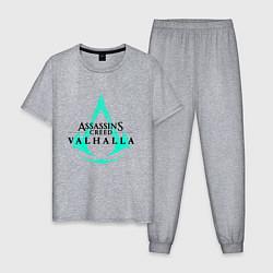 Пижама хлопковая мужская ASSASSINS CREED VALHALLA цвета меланж — фото 1