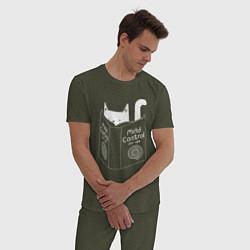 Пижама хлопковая мужская Контроль сознания цвета меланж-хаки — фото 2