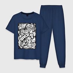 Пижама хлопковая мужская Black and White цвета тёмно-синий — фото 1