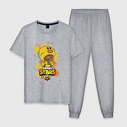 Пижама хлопковая мужская Leon Sally цвета меланж — фото 1