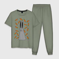 Пижама хлопковая мужская Кролик в морковке цвета авокадо — фото 1