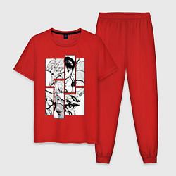 Пижама хлопковая мужская Аска и Синдзи, Евангелион цвета красный — фото 1