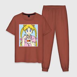 Пижама хлопковая мужская Sailor Moon Usagi Tsukino цвета кирпичный — фото 1