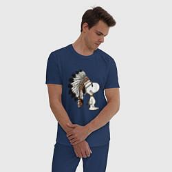 Пижама хлопковая мужская Snoopy цвета тёмно-синий — фото 2