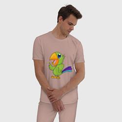 Пижама хлопковая мужская Мексиканский Попугай цвета пыльно-розовый — фото 2