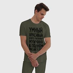 Пижама хлопковая мужская В меру упитанный мужчина цвета меланж-хаки — фото 2