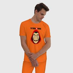 Пижама хлопковая мужская La Casa de Papel Дали цвета оранжевый — фото 2