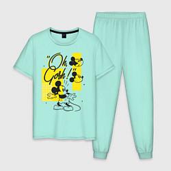 Пижама хлопковая мужская Микки Маус цвета мятный — фото 1