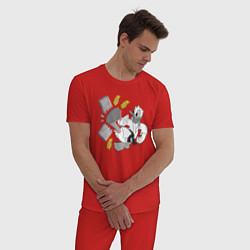 Пижама хлопковая мужская Дональд Дак каратист цвета красный — фото 2