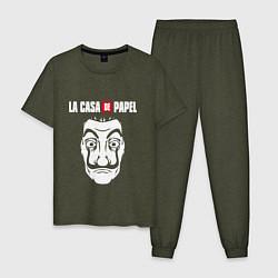 Пижама хлопковая мужская La Casa de Papel Z цвета меланж-хаки — фото 1