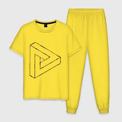 Пижама хлопковая мужская 3D Треугольник цвета желтый — фото 1