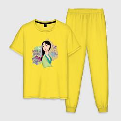 Пижама хлопковая мужская Grace and Courage цвета желтый — фото 1