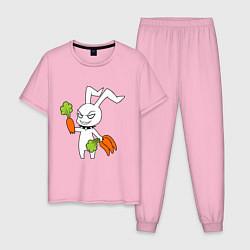 Пижама хлопковая мужская Злой заяц цвета светло-розовый — фото 1