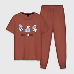 Пижама хлопковая мужская Olaf: Nice Ice цвета кирпичный — фото 1