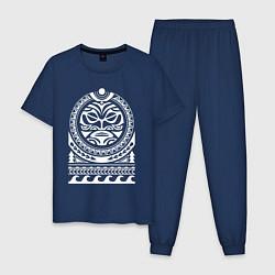 Пижама хлопковая мужская Солнце и скат в полинезия цвета тёмно-синий — фото 1