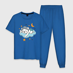Пижама хлопковая мужская Сонный мишка цвета синий — фото 1