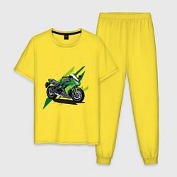 Пижама хлопковая мужская GREEN MOTO Z цвета желтый — фото 1