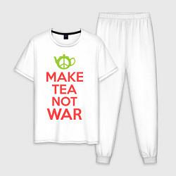 Пижама хлопковая мужская Make tea not war цвета белый — фото 1