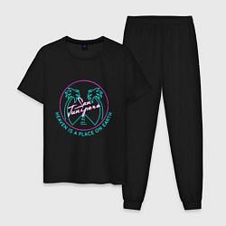 Пижама хлопковая мужская Чёрное зеркало цвета черный — фото 1