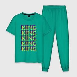 Пижама хлопковая мужская KING цвета зеленый — фото 1