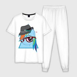Пижама хлопковая мужская Rainbow Dash hipster цвета белый — фото 1
