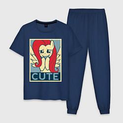 Пижама хлопковая мужская Fluttershy cute цвета тёмно-синий — фото 1