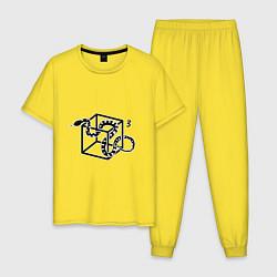 Пижама хлопковая мужская Змея в кубе цвета желтый — фото 1