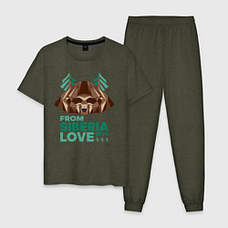 Пижама хлопковая мужская Из Сибири с любовью цвета меланж-хаки — фото 1
