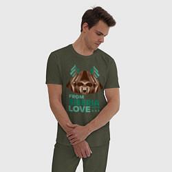Пижама хлопковая мужская Из Сибири с любовью цвета меланж-хаки — фото 2