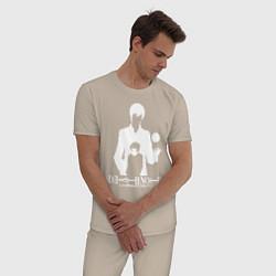 Пижама хлопковая мужская Death Note цвета миндальный — фото 2