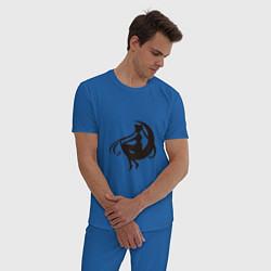 Пижама хлопковая мужская Тень воина луны цвета синий — фото 2
