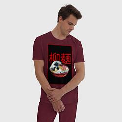 Пижама хлопковая мужская Рамэн цвета меланж-бордовый — фото 2