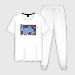 Пижама хлопковая мужская Джинн цвета белый — фото 1