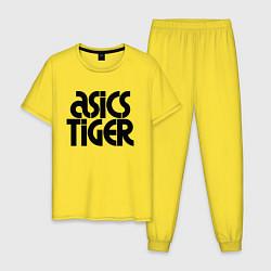 Пижама хлопковая мужская ASICS TIGER цвета желтый — фото 1