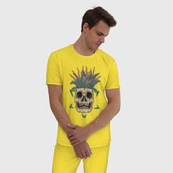 Пижама хлопковая мужская Череп Моргенштерна цвета желтый — фото 2